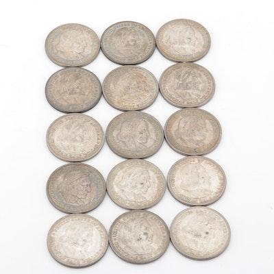 Fifteen 1892 Columbian Exposition Commemorative Silver Half Dollars