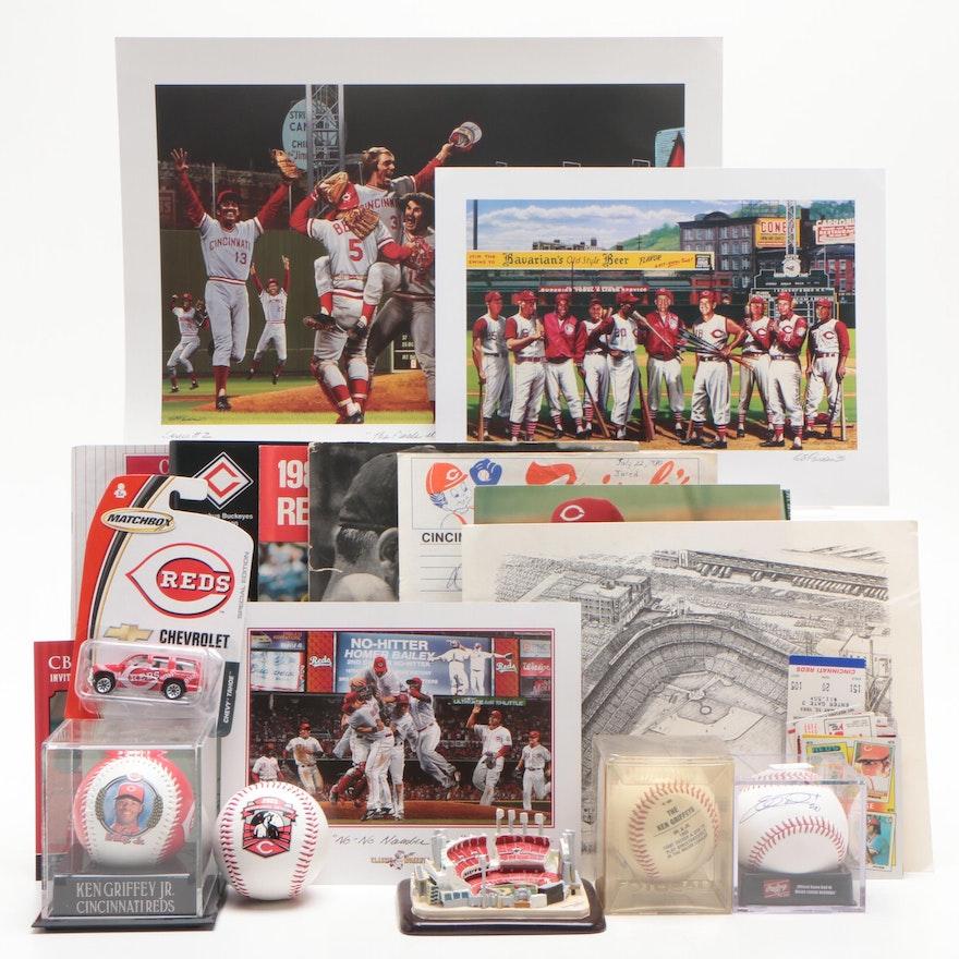 Baseball Memorabilia, Mostly Cincinnati Reds Players Including Cards and More