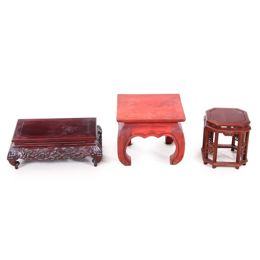 Chinese Carved Mahogany and Rosewood Stands, Late 20th Century