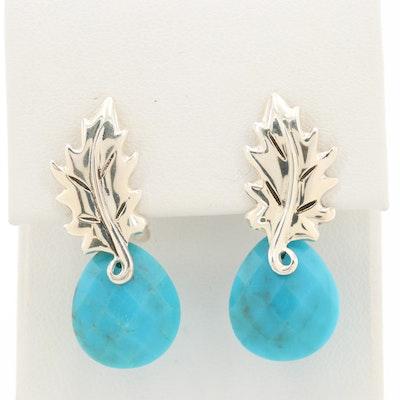 Sterling Silver Turquoise Leaf Motif Earrings