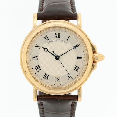 Breguet Marine 18K Yellow Gold Automatic Wristwatch With Guilloche Dial