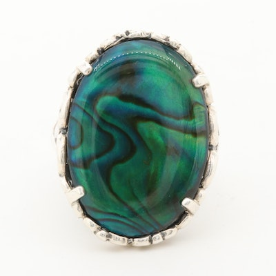 Sterling Silver Abalone Triplet Ring