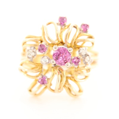 14K Yellow Gold Pink Sapphire and Diamond Ring with Openwork Floral Motif