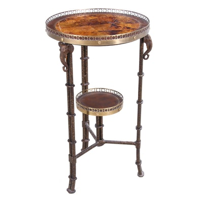 Maitland-Smith Regency Style Tiered Table with Elephants