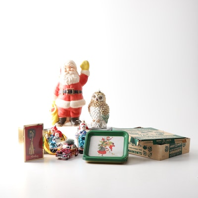 Vintage and Contemporary Christmas Decor including Shiny Brite and Waterford