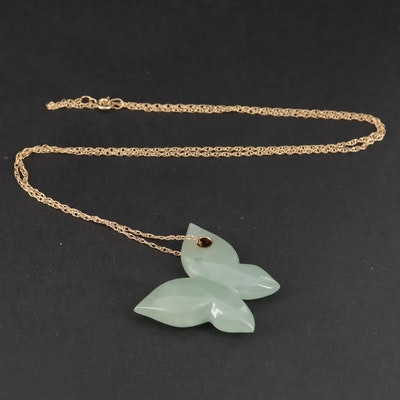 14K Yellow Gold Carved Jadeite Butterfly Pendant Necklace