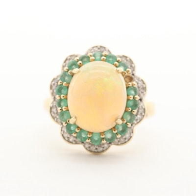 10K Yellow Gold Opal, Emerald and Diamond Ring
