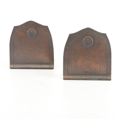 Art Deco Style Hand-Hammered Copper Bookends