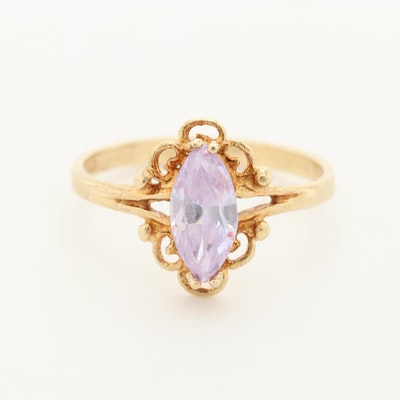 10K Yellow Gold Cubic Zirconia Solitaire Ring