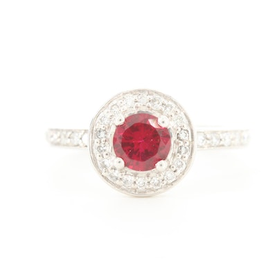 Platinum Ruby and Diamond French Style Halo Ring