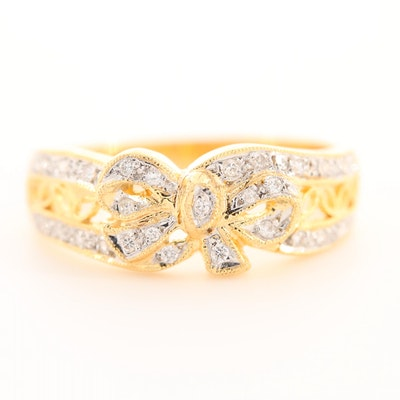 18K Yellow Gold Diamond Bow Motif Ring