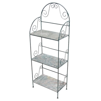 Wrought Metal and Marble Tiered Shelf Unit, Contemporary