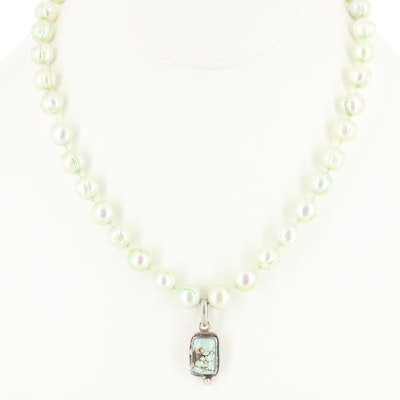 Sterling Silver Turquoise Pendant on a Knotted Strand of Cultured Pearls