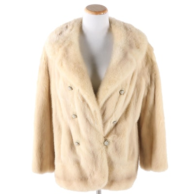 Blonde Mink Double-Breasted Jacket from Rollins Furs of Detroit, Vintage