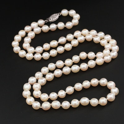 14K White Gold Cultured Pearl Strand Necklace