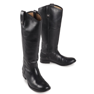 Frye Melissa Black Leather Riding Boots