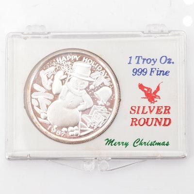 1987 Happy Holidays .999 Fine Silver Round