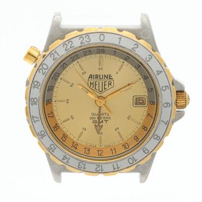 Vintage Heuer Airline Two Tone GMT Quartz Wristwatch, 1980s