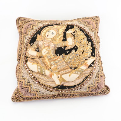 Embroidered Kalaga Accent Pillow with Embellished Thai Dancer Motif