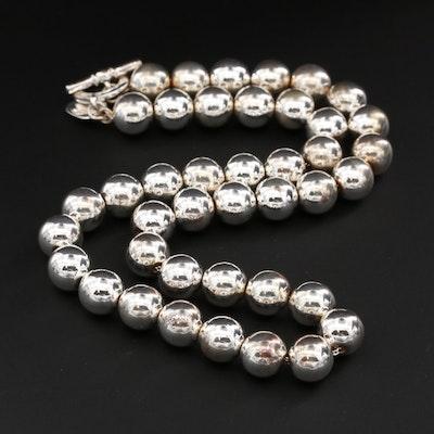 Ralph Lauren Silver Tone Beaded Necklace