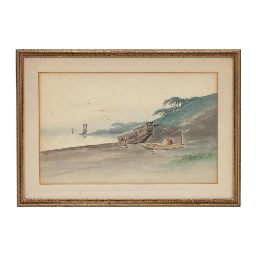 Japanese Coastal Scene Watercolor Painting