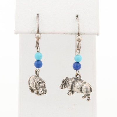 Kabana Sterling Silver Hippopotamus Earrings with Turquoise and Lapis Lazuli