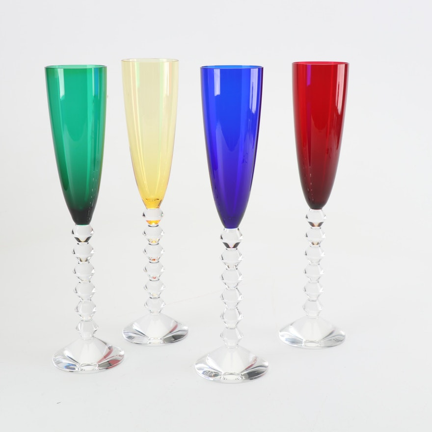 """Baccarat Crystal """"Vega"""" Champagne Flutes, Set of Four"""