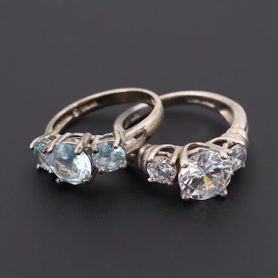 Sterling Silver Topaz and Cubic Zirconia Rings