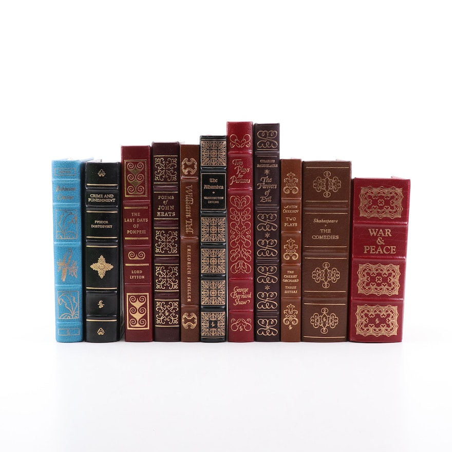 """Easton Press Gilt Leather Books with """"War and Peace"""" and """"The Comedies"""""""