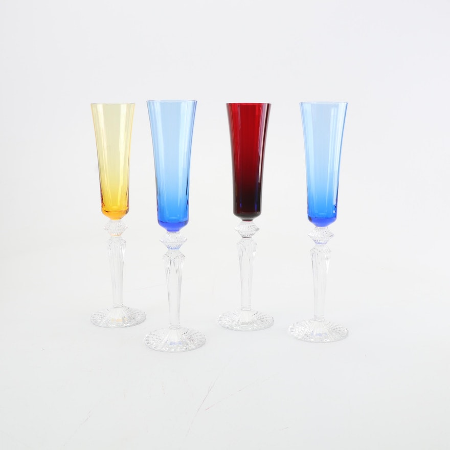 "Baccarat Crystal ""Mille Nuits Flutissimo"" Champagne Flutes"
