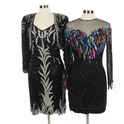 Beaded Evening Dress and Strapped Sequin Dress with Bolero Jacket, Vintage