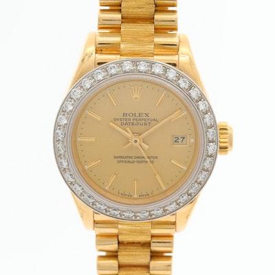 Vintage Rolex Datejust 18K Yellow Gold and Diamond Bezel Wristwatch, 1987