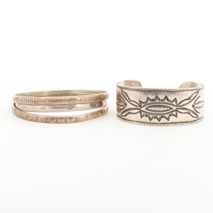 Sterling Silver Cuff Bracelet and Bangle Bracelets