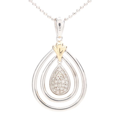 Sterling Silver Diamond Pendant Necklace With 14K Yellow Gold Accent