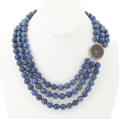 Lapis Lazuli Beaded Necklace with Chinese Cash Coin Replica Clasp