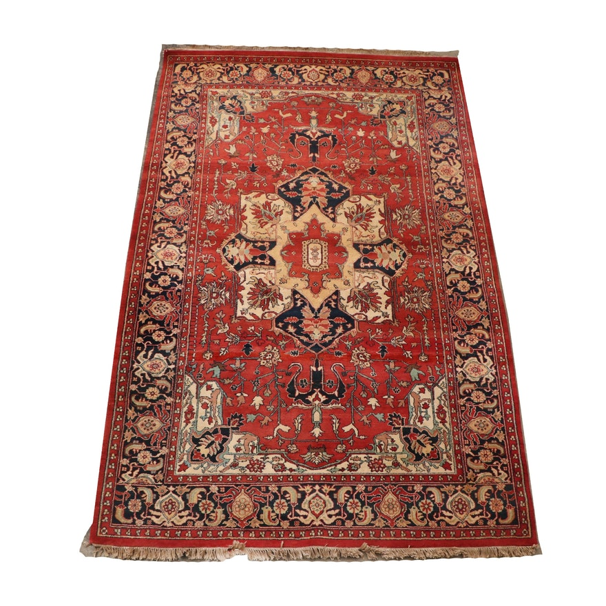 Hand-Knotted Rose Carpets Indo-Persian Heriz Style Wool Rug