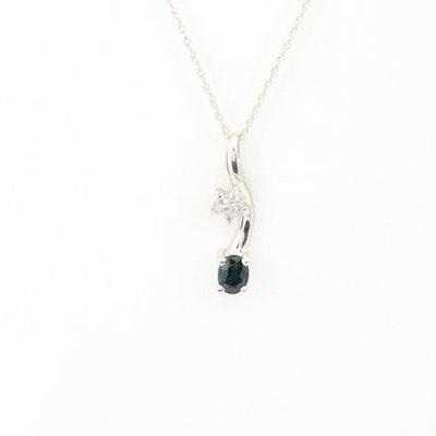 14K White Gold Blue Sapphire and Diamond Pendant Necklace