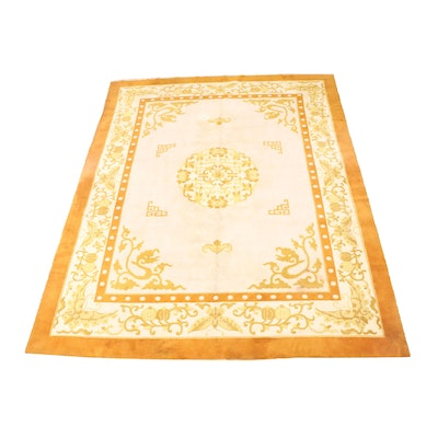 Hand-Knotted Bengali Peking Style Sculpted Wool Room Sized Rug