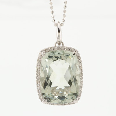 Sterling Silver Prasiolite and Diamond Pendant Necklace