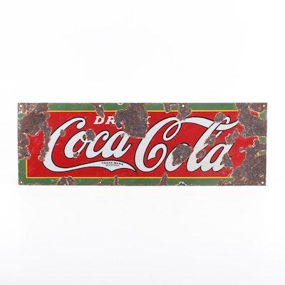 """""""Drink Coca-Cola"""" Porcelain Enamel Advertising Sign, Vintage"""