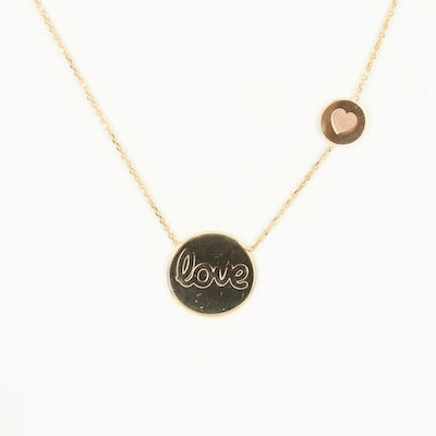 14K Yellow Gold Love Pendant Necklace