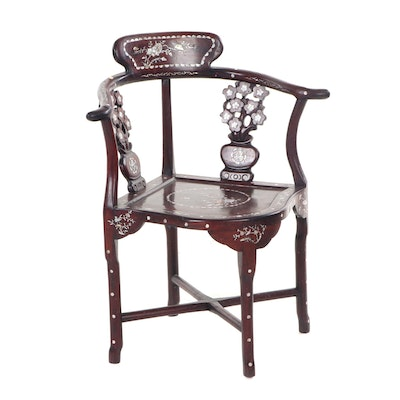 Chinese Style Mother of Pearl Inlay Wood Corner Chair