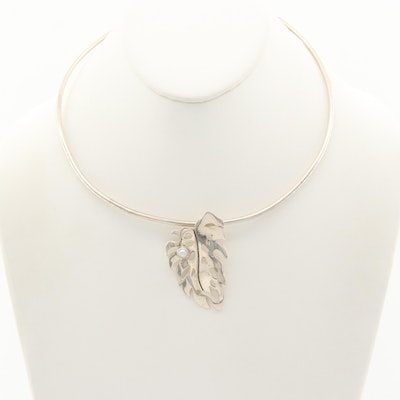 Sterling Silver Cultured Pearl Leaf Motif Pendant on Torque Collar