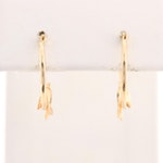 14K Yellow Gold Dolphin Hoop Earrings