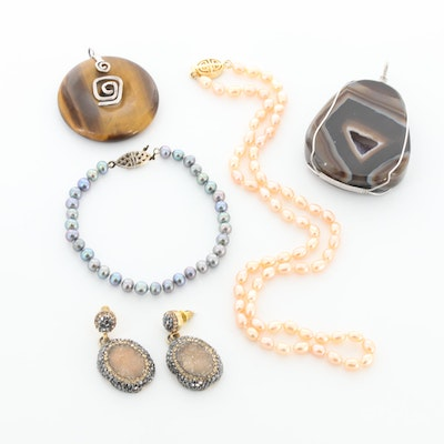 Jewelry Assortment Including Sterling Silver, Tiger's Eye and Druzy