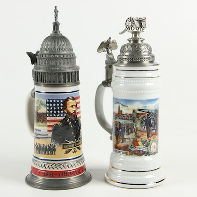 Ceramic Beer Steins With Civil War Theme Including Anheuser-Busch