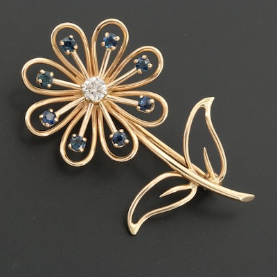 Vintage 14K Yellow Gold Diamond and Sapphire Flower Brooch