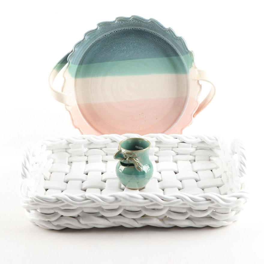 Italian Woven Ceramic Basket with Thrown Porcelain Pie Plate and Vase