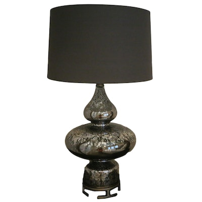Mercury Glass Table Lamp with Drum Shade, Contemporary