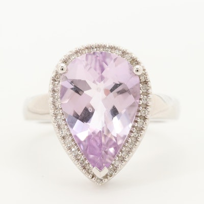 14K White Gold Amethyst Ring with Diamond Halo